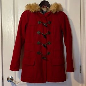 Red pea coat with toggle buttons